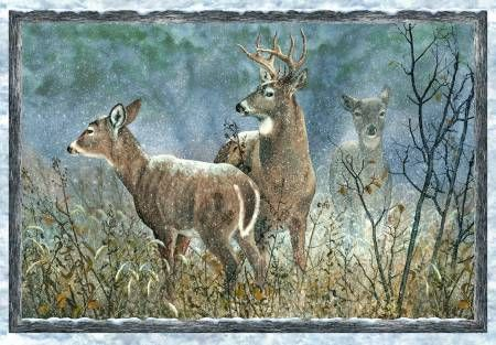 "Wilmington Prints Winter Whispers 38512-421 Three Deer Panel 30""xwof"