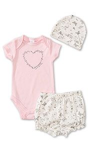 182050ffe6fe1 Pyjama pour bébé en coton biologique in blanc   rose