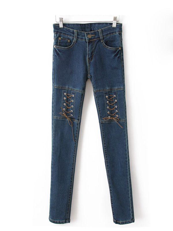 Ankle Length Pencil Royal Blue Elastic Denim Pants : KissChic.com