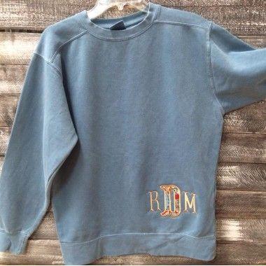 Monogrammed Applique Comfort Colors Sweatshirt Ice Blue Comfort