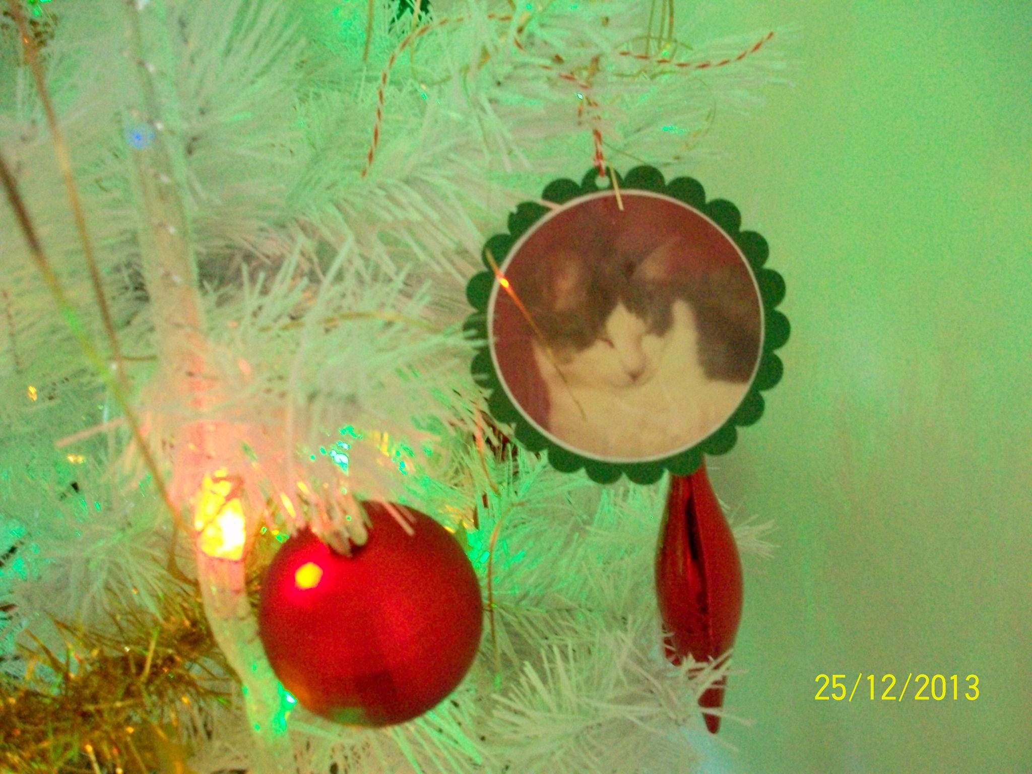 Sample Of Christmas Tree Bauble Green Card Stock With Photo Behind