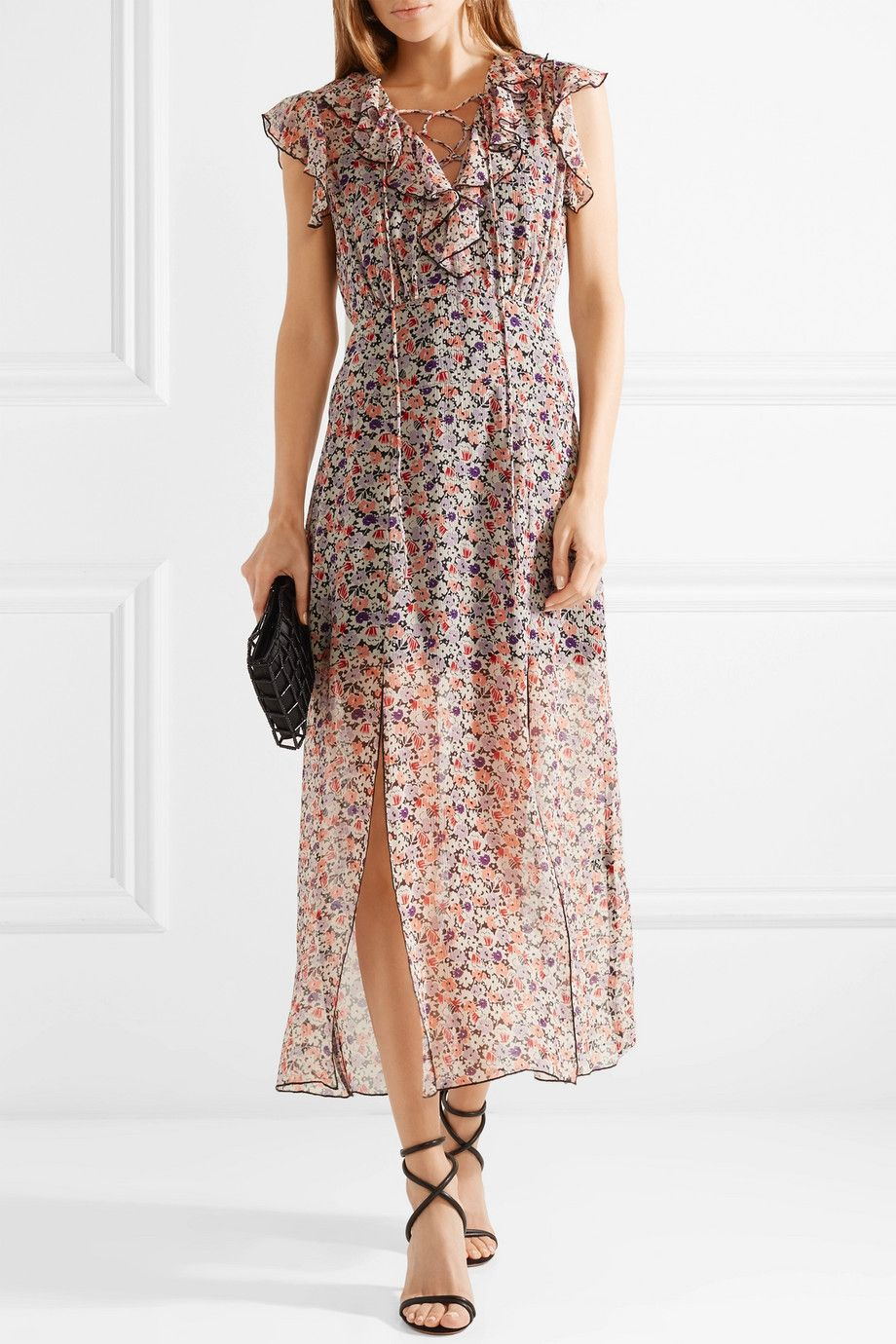 Scattered Flowers Ruffled Floral-print Silk-chiffon Midi Dress - Pink Anna Sui Prices Cheap Price High Quality Buy Online Factory Outlet Hard Wearing zNpOJRV