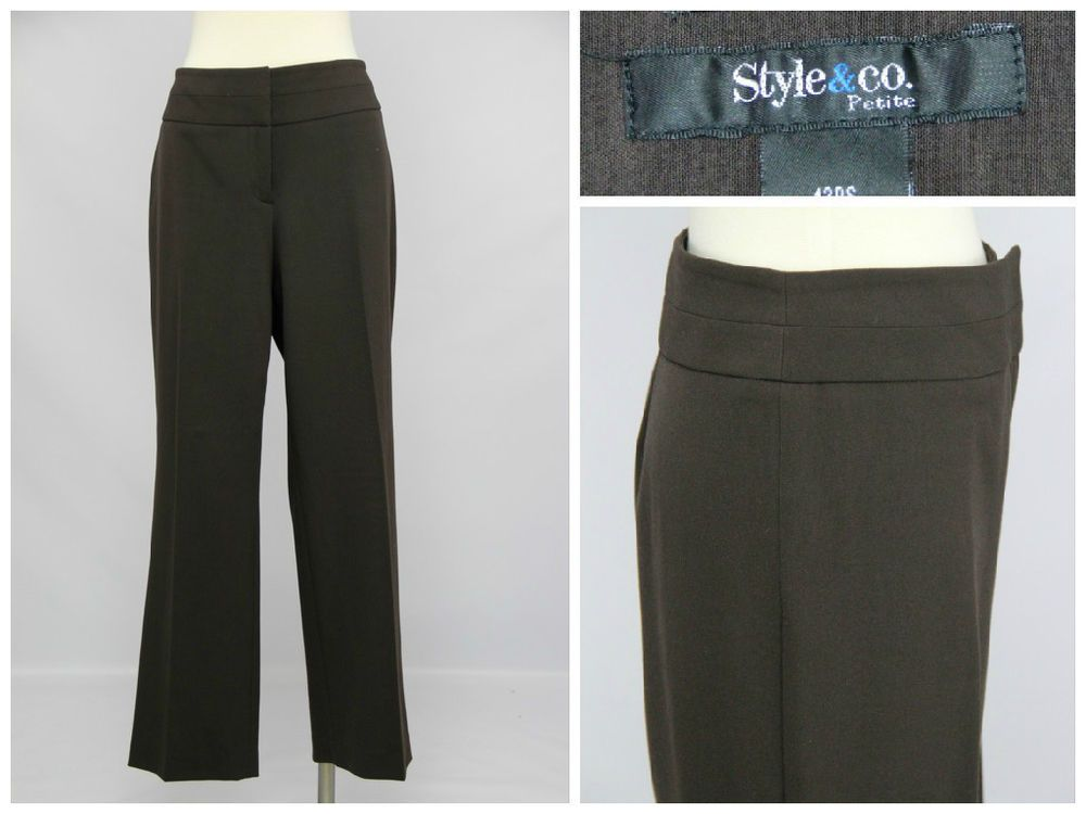Style & Co Petites Women's Size 12 PS Chocolate Brown Stretch Dress Pants  #Styleco #DressPants