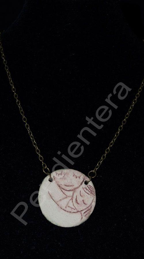 Colgante de cerámica reversible Maternidad | Colecciones, Colgantes y collares, Maternidad | Pendientera.com - Bisutería y complementos ARTEsanales