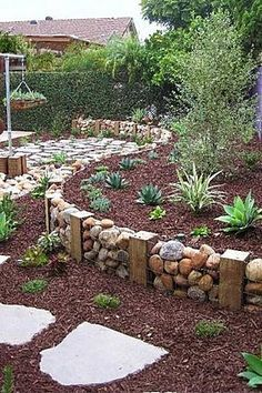 Like This Idea A Lot Quicker Than Mortaring The Rock And Easier To Remove If You Want To Change The Landscape Outdoor Gardens Backyard Landscaping Backyard