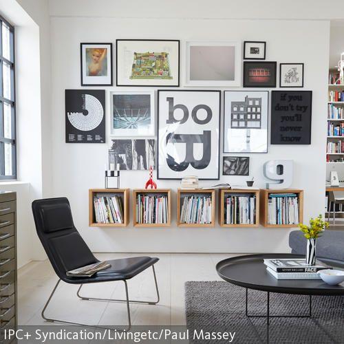 wei e wand mit bildern gestalten decor pinterest wohnzimmer w nde und wohnen. Black Bedroom Furniture Sets. Home Design Ideas