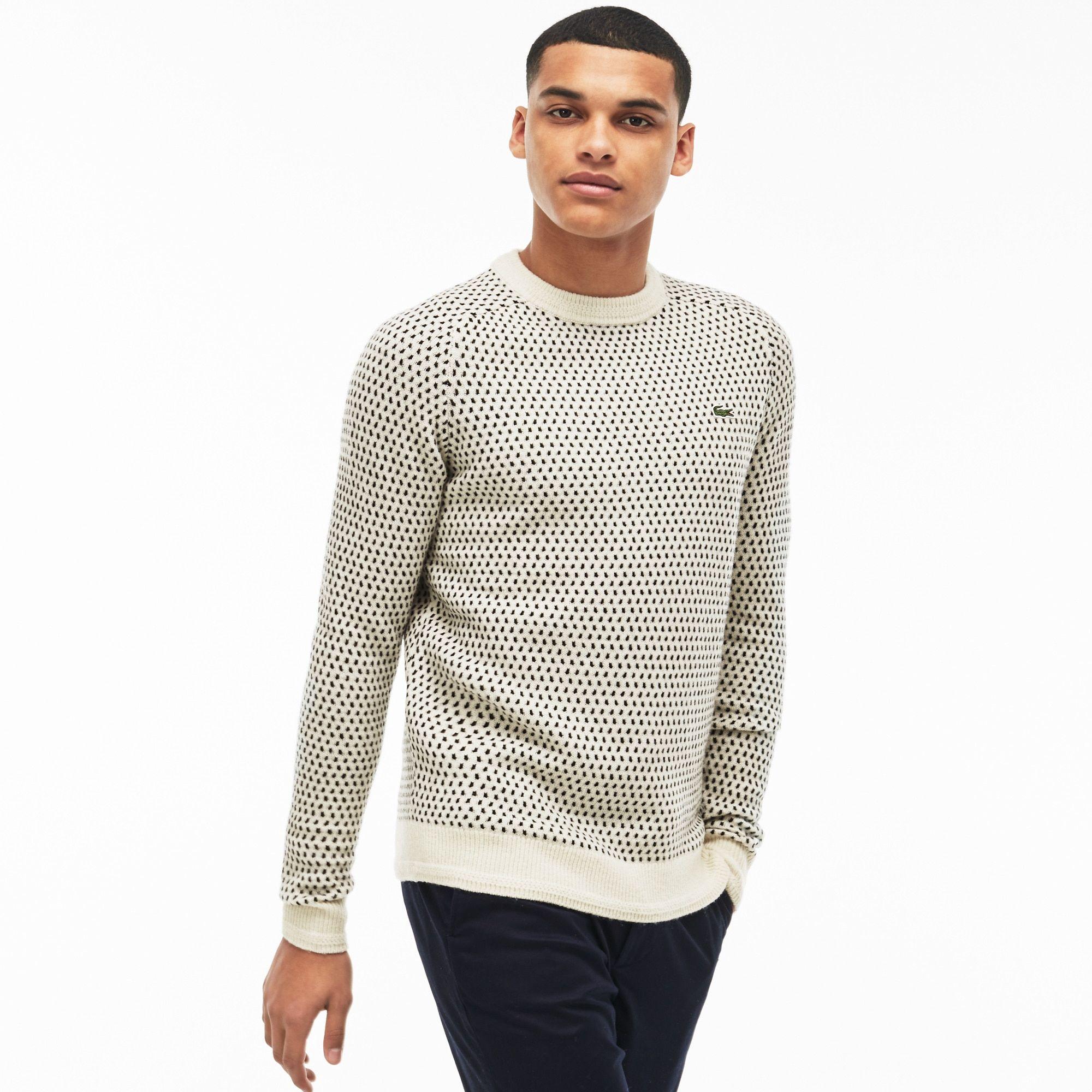 b897cfd213 Men's LIVE Crew Neck Wool Blend Mini Jacquard Sweater | LACOSTE ...