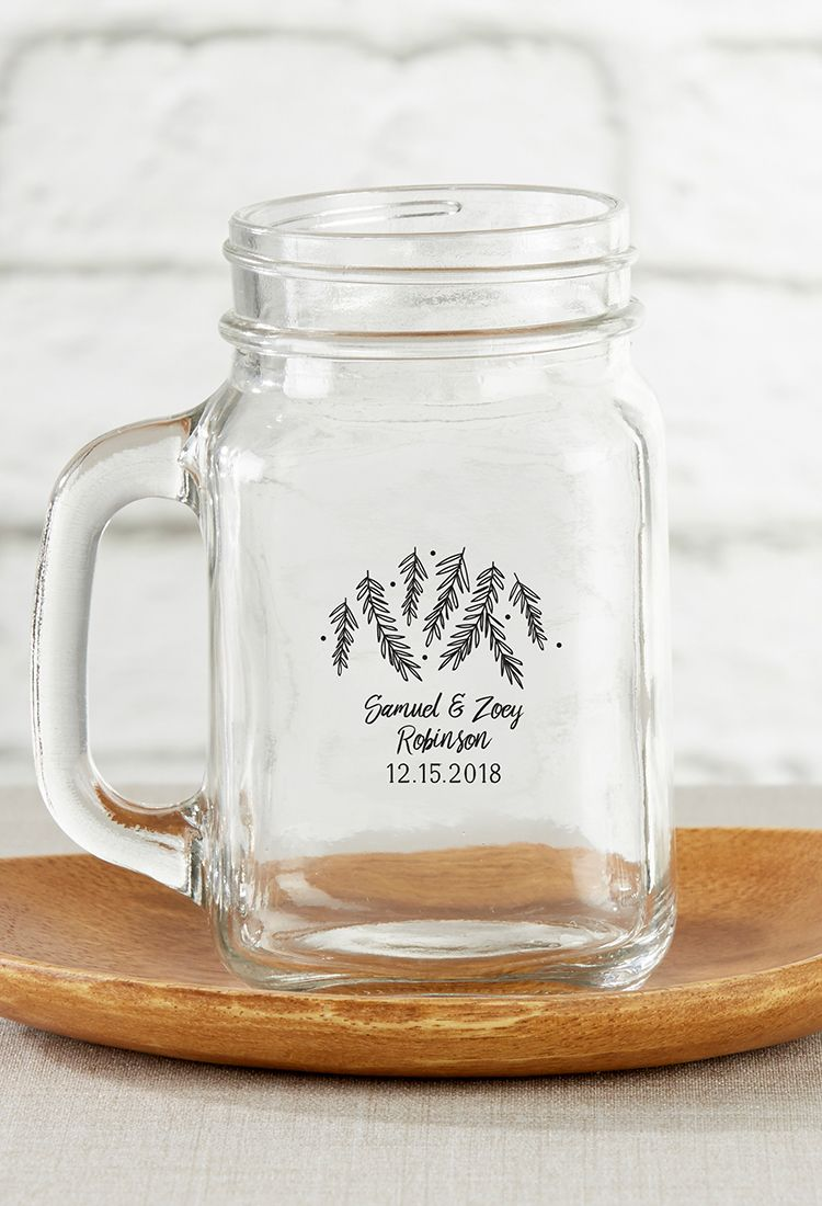 Personalized Winter 16 oz. Mason Jar Mug | 16 oz mason jars, Kate ...