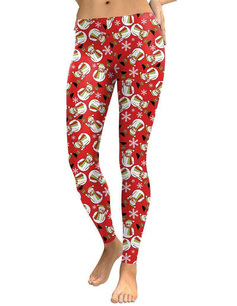 Winter Sale Christmas Gift Yoga Pants Gym Clothes Snowflakes Workout Leggings Christmas Snow Leggings Holiday Printed Tights