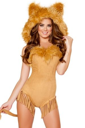 dc8f218814 Vicious Lioness Costume 4710 Roma Costumes Vicious Lioness Costume includes  a detachable hooded romper with fringe and fur detail and attached tail.