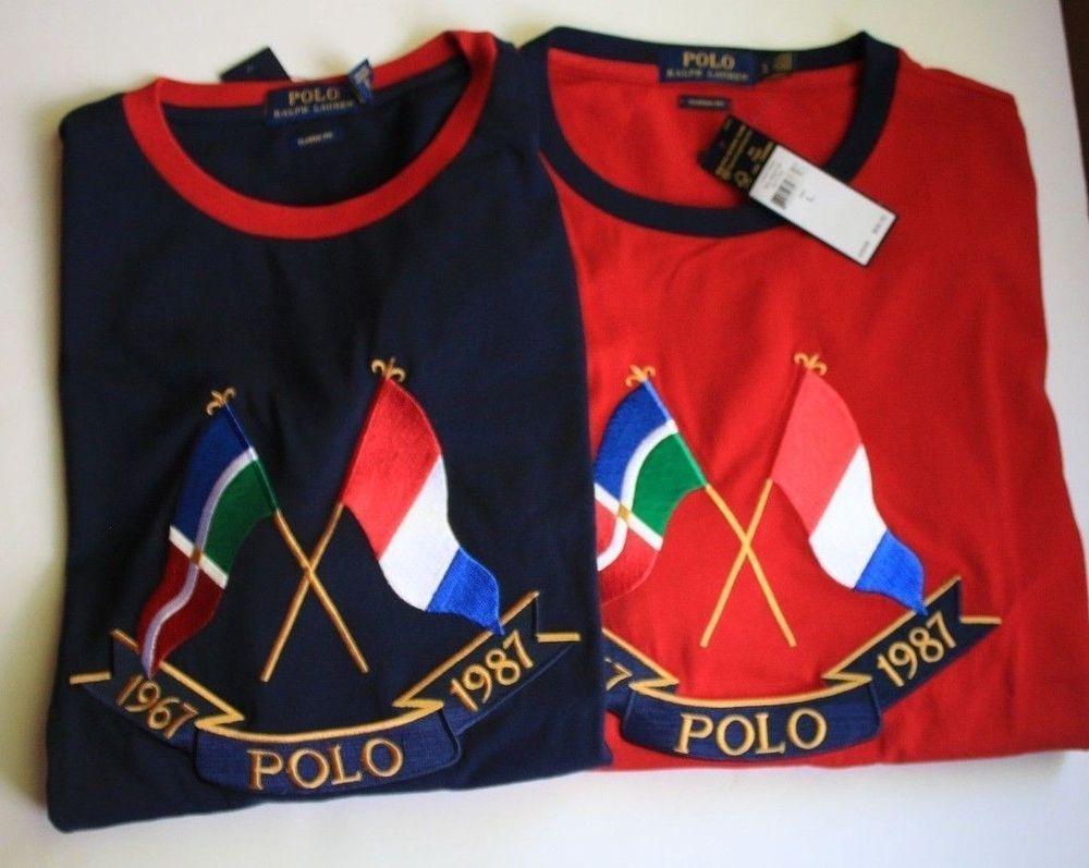 e1c87b57 Polo Ralph Lauren Crossed Flags Crew Neck Tee Shirt CP 93 Navy Red S M L XL  XXL