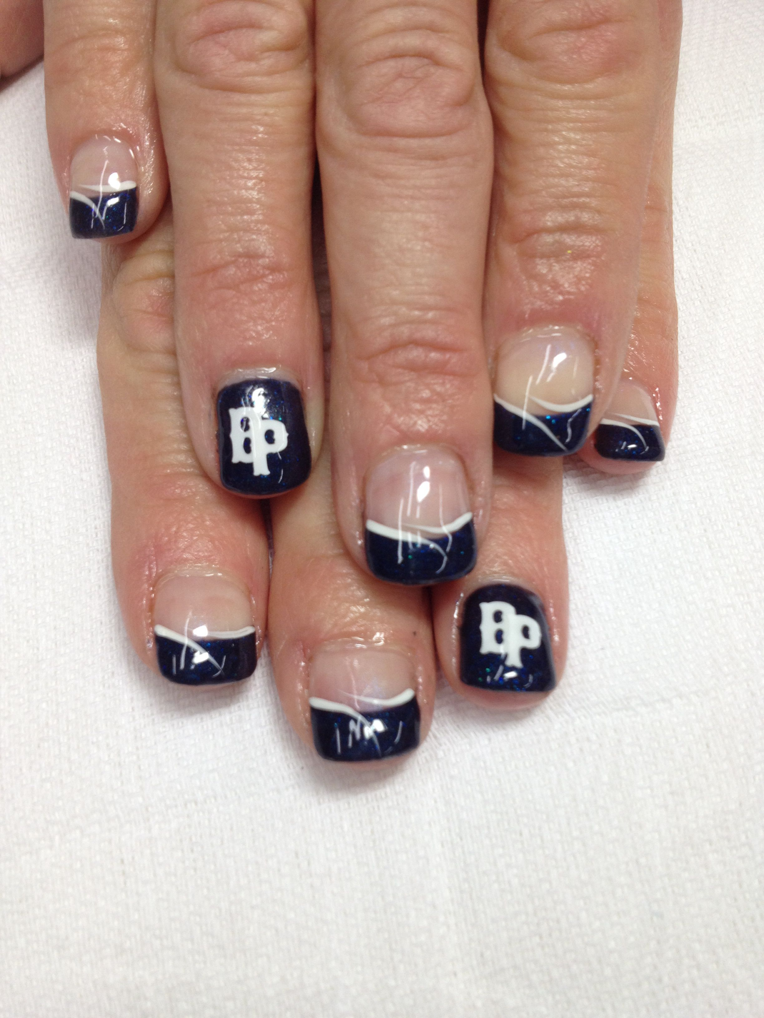 Baseball nails! Go BayPort Pirates!! Pigment powder added to gel for ...