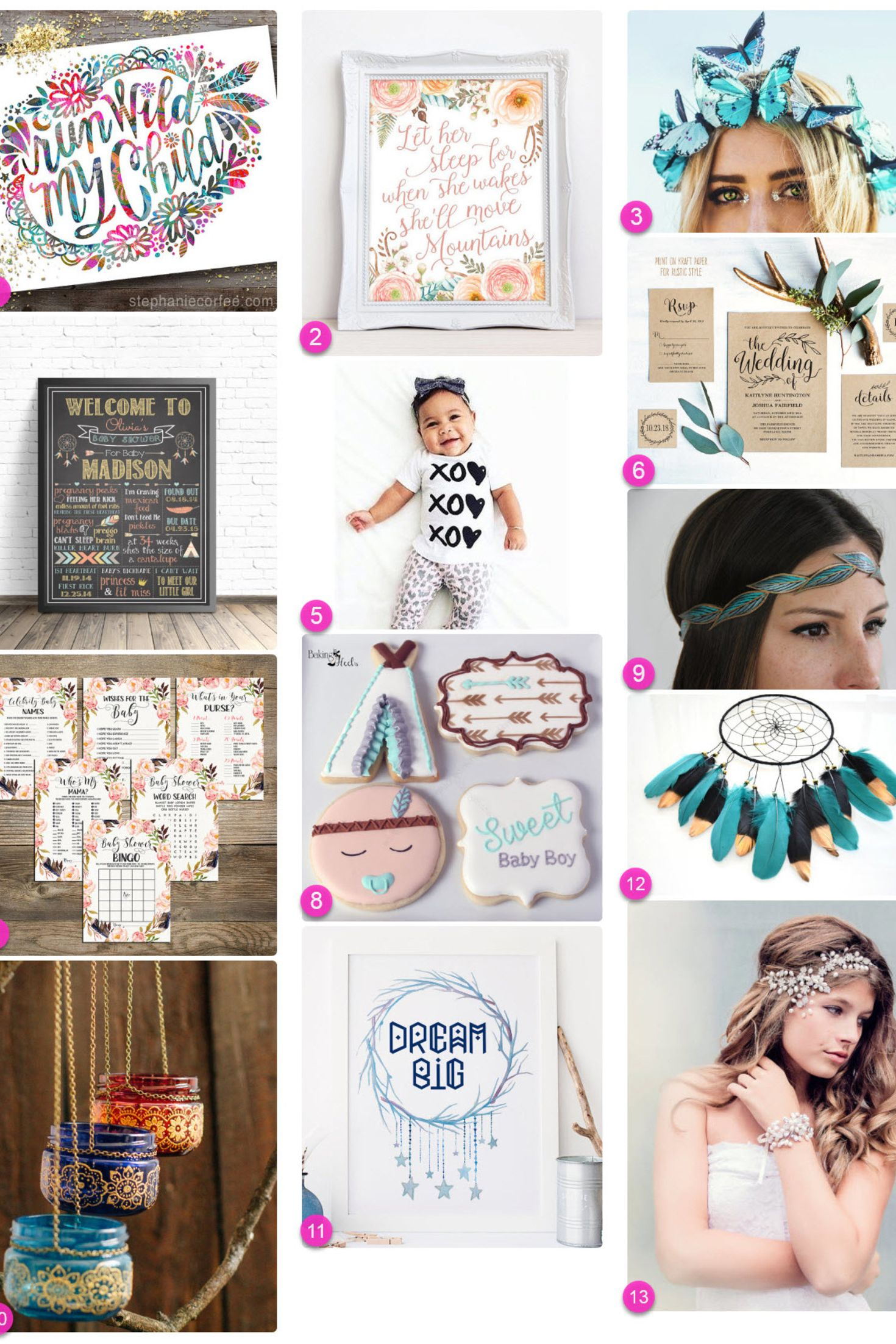 Perfect Wedding & Baby Boho Party Ideas... |  handpicked Boho party and Bohemian theme collection.  The first Bohemian guide was filled with mainly Bohemian Boho wedding cards and also Boho bohemian theme decor found on Etsy. There was so much gorgeous boho inspired creatives found also at Zazzle, that I made it into two jam packed Boho Bohemian themed party guides.