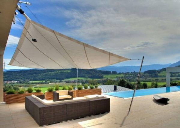 Superieur Triangular Patio Awning Sandstone Rattan Furniture