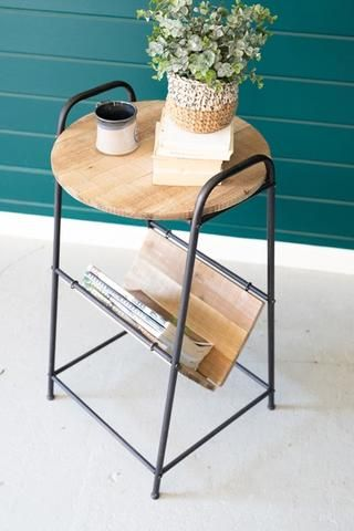 Wood And Rustic Metal Side Table With Magazine Rack In 2020 Metal Side Table Rustic Side Table Side Table