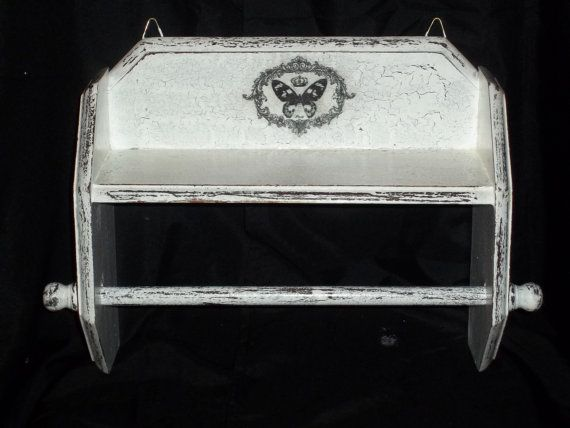 Shabby shelf and paper towel  or towel holder by BoutiqueClaire, $32.00