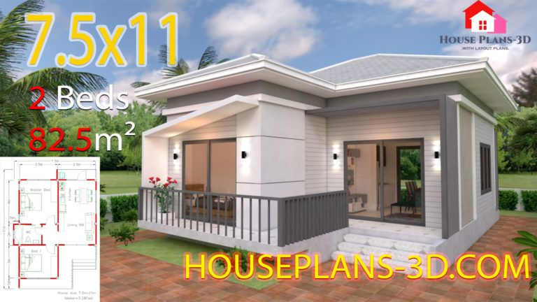 House Design 8x11 With 3 Bedrooms Full Plans House Plans 3d Small House Design Plans House Plans Architectural House Plans
