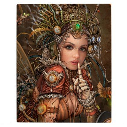 Beautiful Steampunk Mechanical Fairy With Gears Plaque - gold gifts golden diy custom