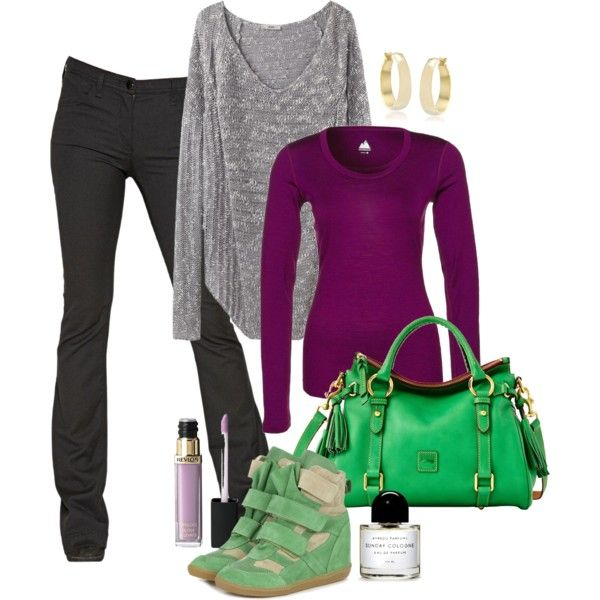 Bold colors, spring or summer outfit; purple, green and black.