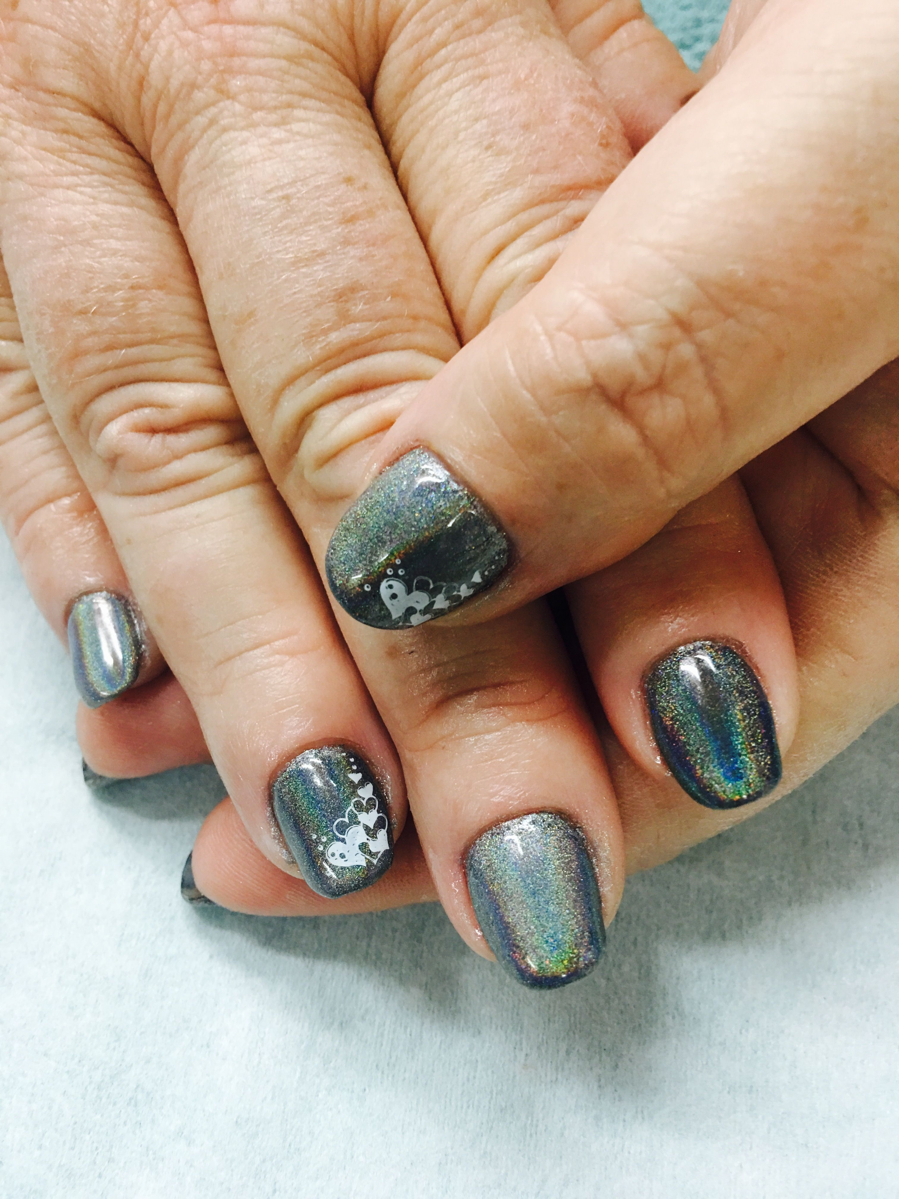 Holo Chrome Unicorn effect stamped gel nails | Gel Nail designs ...