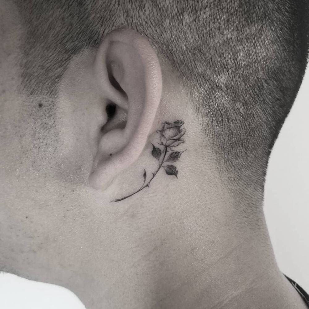 Single Needle Rose Tattoo Behind The Left Ear Small Neck