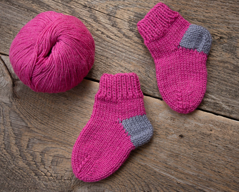 Pink Baby Girls Boys Winter Knit Baby Booties Striped Socks