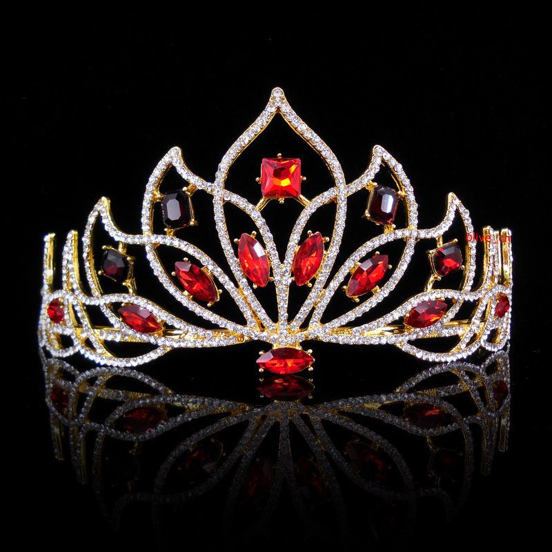 Hearts Large Tiara Crown Crystal Rhinestone Headpiece Wedding Pageant Party Prom