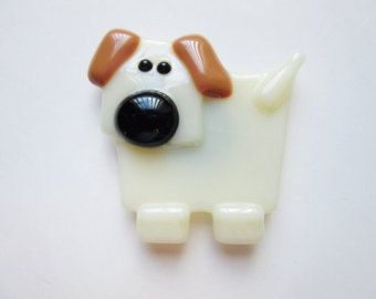Dog Magnet - Fused Glass Magnet - Refrigerator Magnet - Gift Under 10 - Fridge Magnet - Unique Dog Lover Gift  - Dog Decor - Kitchen Decor