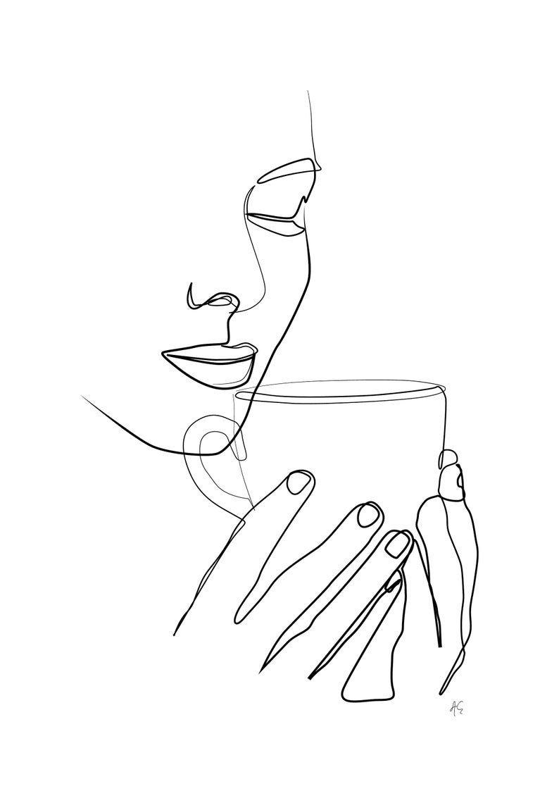 Minimal woman drinking coffee tea art one line art modern
