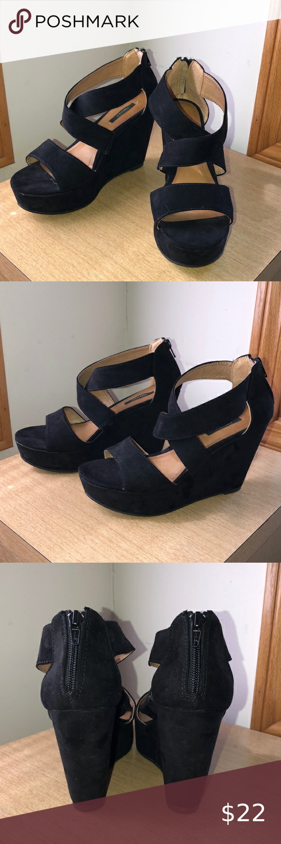 Forever 21 Black Suede Wedges Brand: Forever 21 Type: Wedges Size: Women 7 1/2 Color: Black Material: Faux suede Wedge height: See photo Details: Black suede, crisscross strap detail, zippered back closure *In good, used condition — some minor buffing (only worn once), still in very wearable, cute condition Forever 21 Shoes Wedges