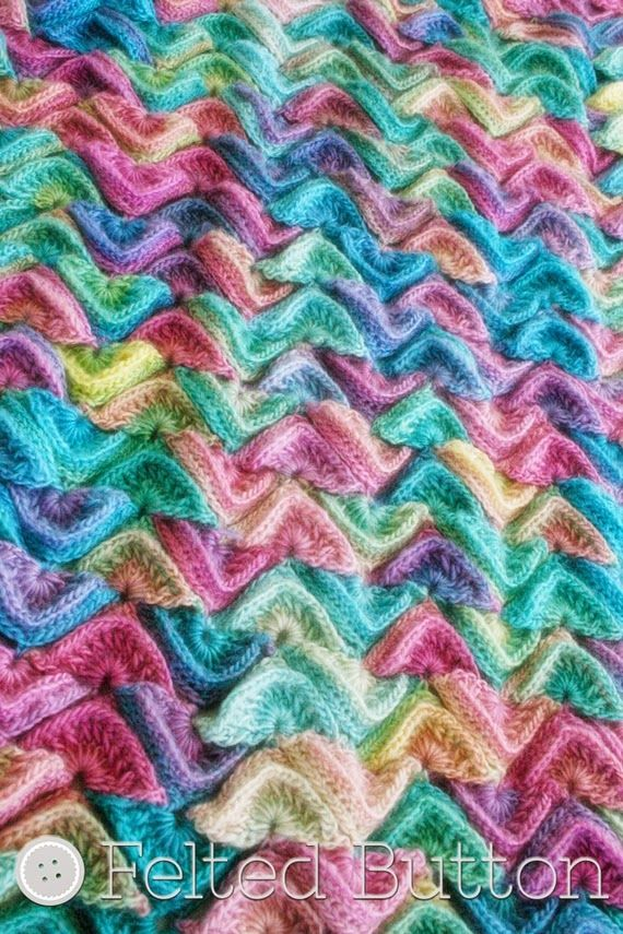 Sea Song Blanket Crochet in Red Heart Unforgettable Candied colorway ...