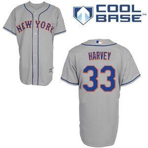 a majestic mens new york mets 33 matt harvey cool base road gray jersey