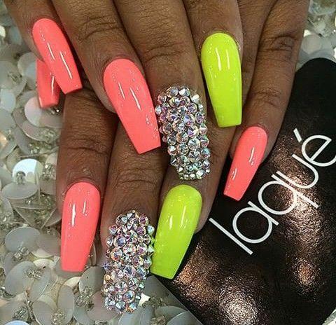 Coral Lime Green Neon Nail Designs Laque Nail Bar Neon Nails