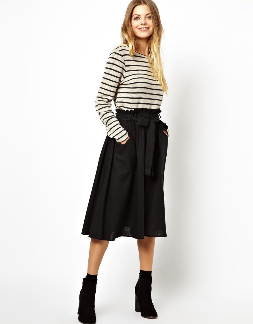 e4151d38bc Asos Full Midi Skirt In Scuba With Pockets – DACC