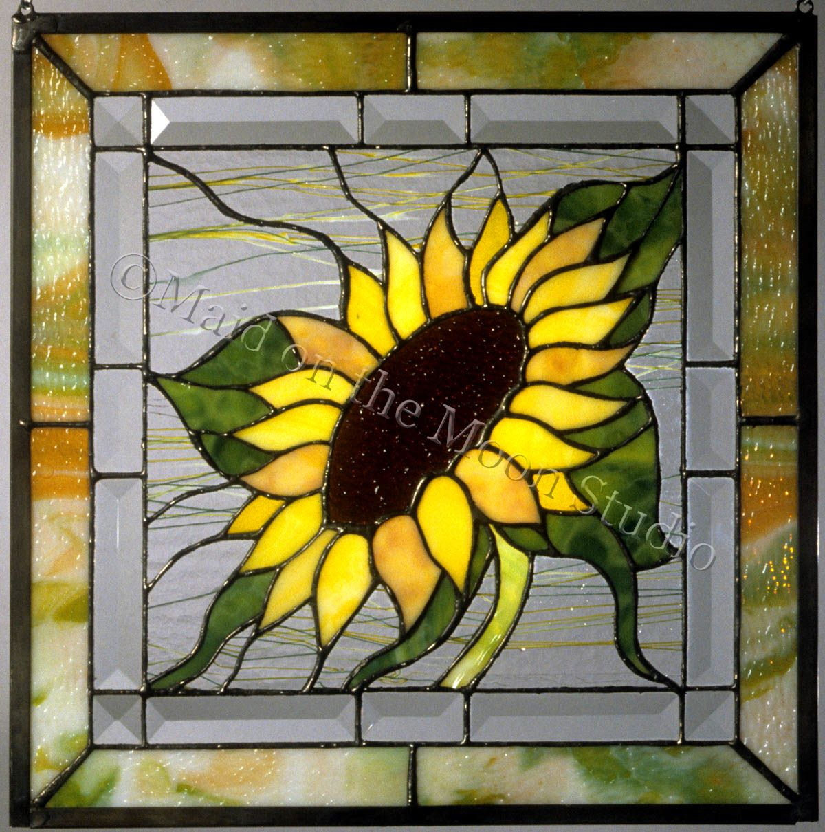 Full Face Sunflower Stained Glass Panel By Maid On The Moon Studio Stained Glass Diy Stained