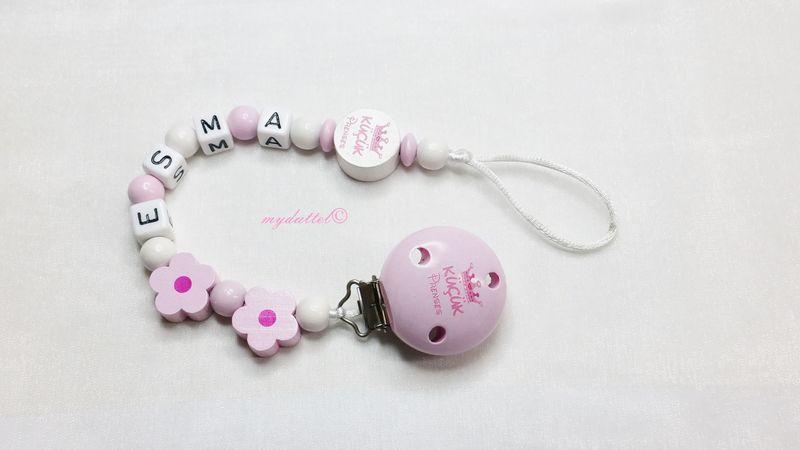 Schnullerkette Kücük Prenses Blumen Baby md366 von myduttel auf DaWanda.com