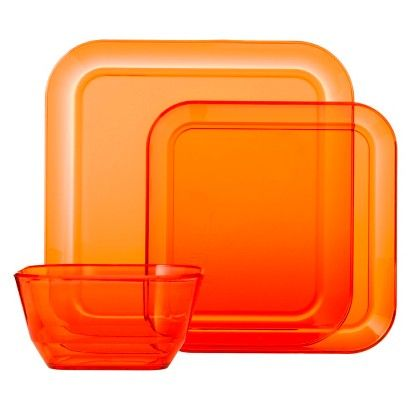 Room Essentials™ Square 12 Piece Clear Plastic Dinnerware Set - Orange Smoothie  sc 1 st  Pinterest & Room Essentials™ Square 12 Piece Clear Plastic Dinnerware Set ...
