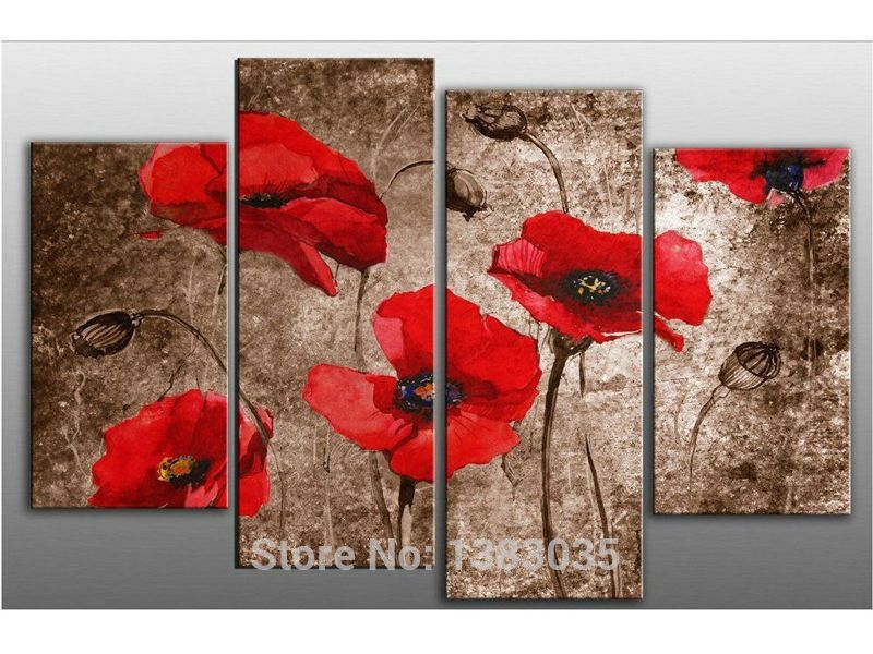 Red poppy flowers hand painted oil on canvas art set modern abstract red poppy flowers hand painted oil on canvas art set modern abstract painting wall picture for mightylinksfo Image collections
