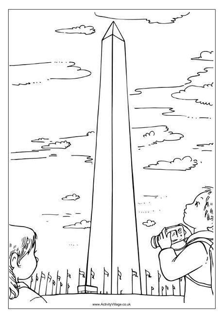 Washington Monument Colouring Page Washington Monument American