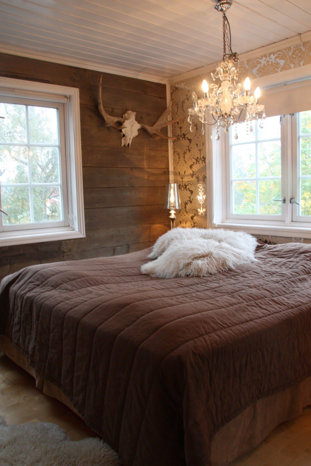 Barn wood walls and white bead board ceiling Rustic