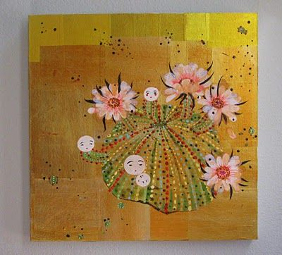 "Image: artist Alexandra Gjurasic  Kokeshi Cactus, 24""x24"", mixed media painting on gold paper applied to wood, 2010 www.alexandragjurasic.com"