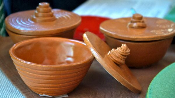 clay bowls with lids