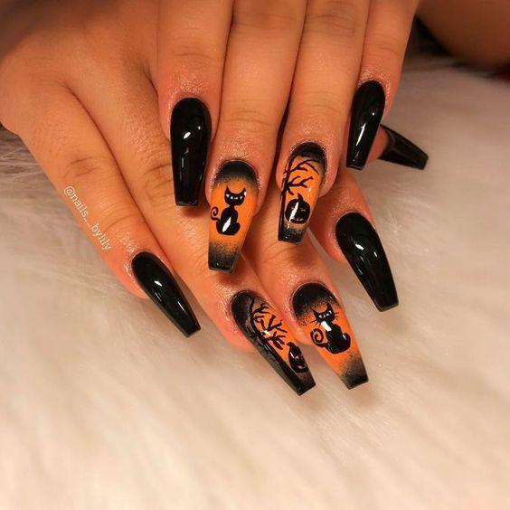 45 Halloween Coffin Nail Ideas For Women 2019 Black Halloween Nails Halloween Acrylic Nails Halloween Nail Designs