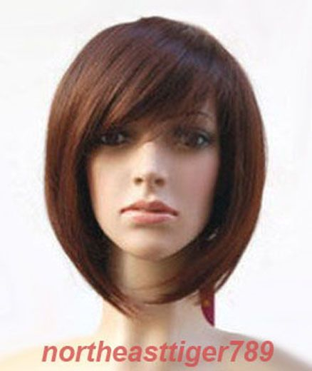 Hot Sell Fashion Short Dark Brown Straight Women S Lady S Hair Wig Wigs +Cap 3c73be6717