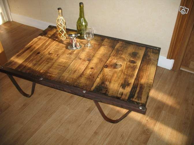 table basse métal/bois ancienne palette sncf ameublement paris