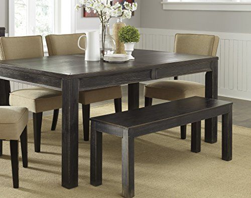 6-Piece Gavellestong Dining Set with Black Rectangular Table, 4