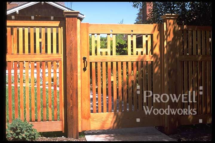 Arts and crafts style fences he garden fence gates in for Craftsman style fence