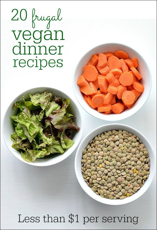 These 20 vegan dinner recipes are delicious and frugal! Each recipe costs less than $1 per serving. Healthy food can be dirt cheap, too!