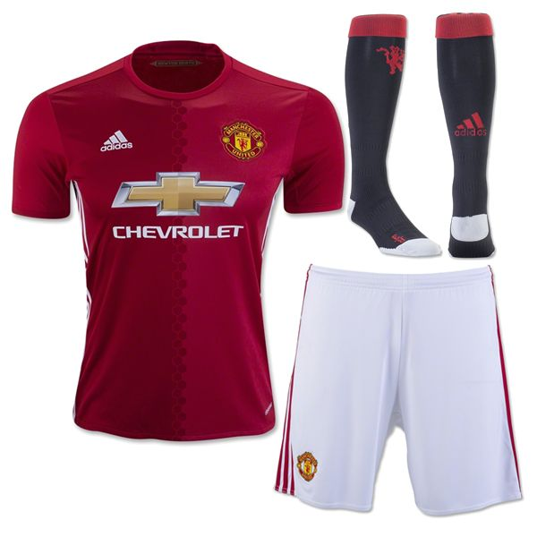 Manchester United Jersey 2016/17 Home Red Soccer Uniform (Shirt+Shorts+Socks