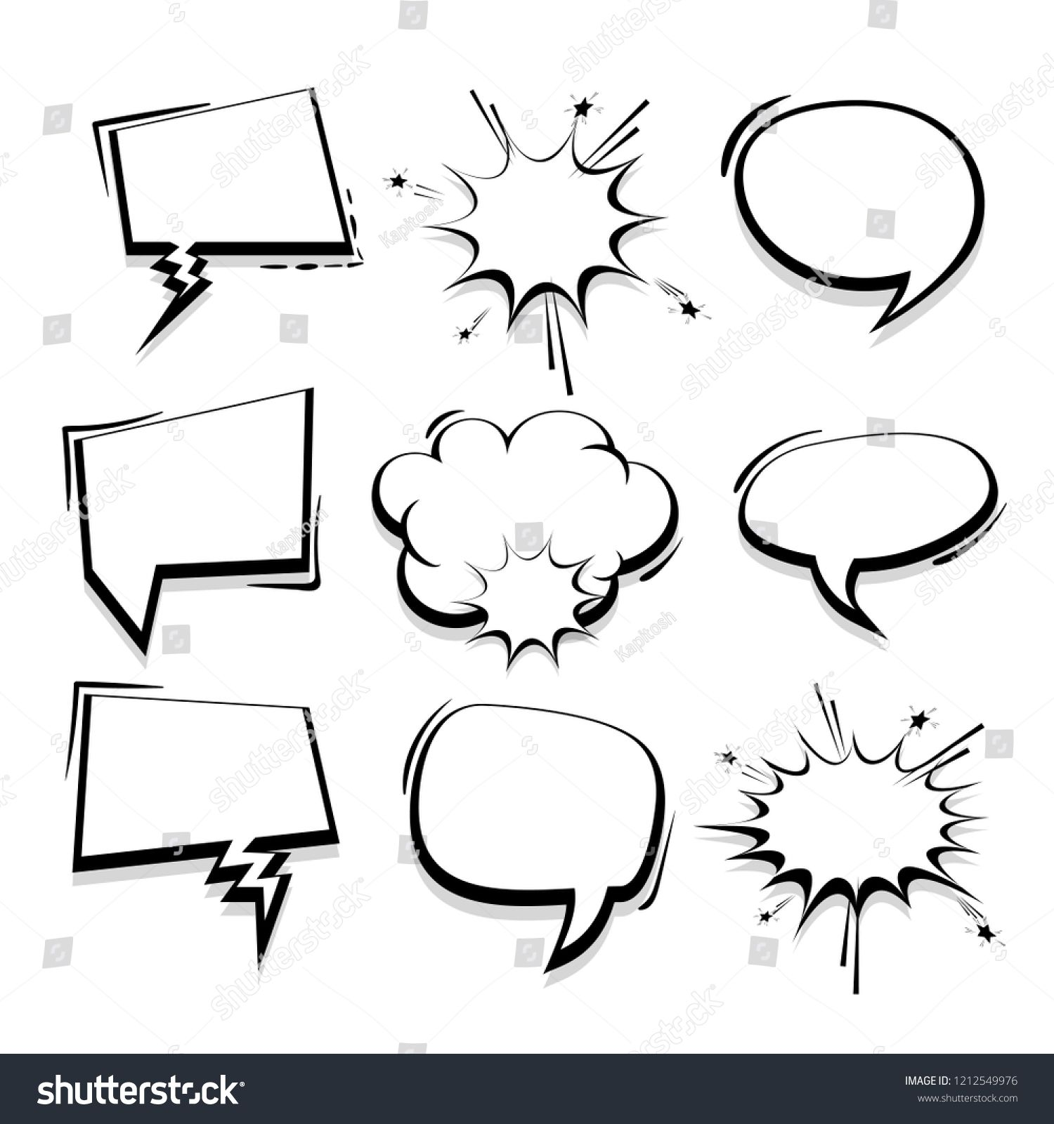 Big Set Hand Drawn Monochrome Blank Effects Template Comic Speech Bubbles Halftone Dot Vector Background In Pop Bubble Drawing Halftone Dots How To Draw Hands I'm running photoshop cs6, so i dont know if it will work on older versions. big set hand drawn monochrome blank